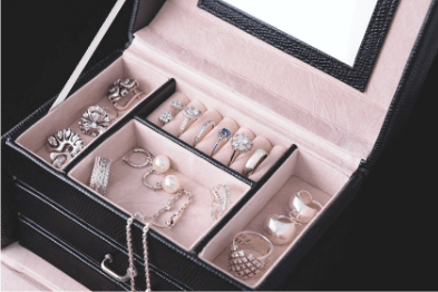 A black jewellery box cont